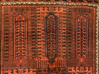 """Baluch main carpet in good overall condition - 2.87 x 1.78m (9' 5"""" x 5' 10"""")."""