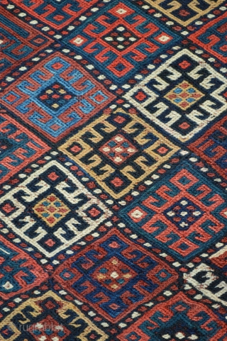 """Attractive Kordi soumak panel, Quchan region of north-east Persia circa 1900. 69 x 36cm (2'3"""" x 1' 2"""")."""