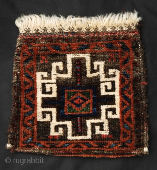 """Lovely double-sided knotted-pile Baluch chanteh in good condition with good vegetable colours. 28cm x 26cm (11"""" x 10"""")."""