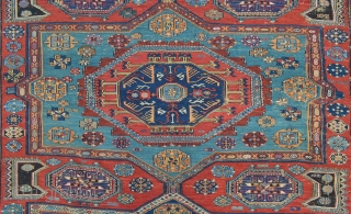 Attractive Soumack carpet, as found,  in overall good condition with minor areas requiring restoration 3.20m x 2.24m.