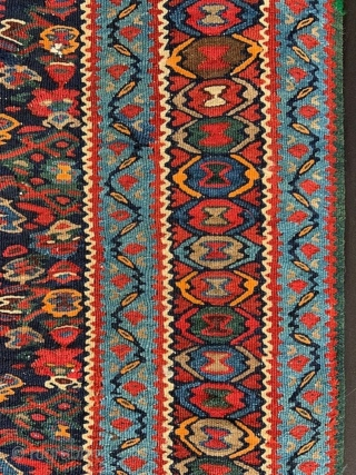 """Senneh Kilim in good overall condition - 1.93m x 1.07m (6' 4"""" x 3' 6"""")."""