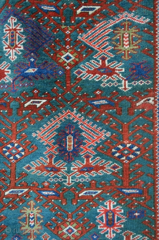 "Great looking 19th century turquoise ground Dosmealti/Bergama rug with evenly low pile but otherwise very acceptable condition - 1.78m x 1.17m (5' 10"" x 3' 10"")."