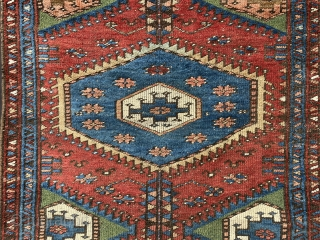 """Interesting and unusual 19th century Kurdish rug in good but evenly-low pile all over. Great natural colours and fairly coarse weave - a truly tribal rug in every sense. 1.30 x 1.14m (4' 3""""  ..."""