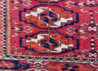 """Attractive Teke Turkmen chuval in nice overall condition with replaced selvedges.   1.12 x 0.61m (3' 8"""" x 2' 0"""")."""