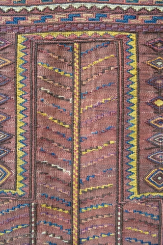 Unusual prayer-rug in plain-weave and soumak technique - possibly Quchan or Khorassan region - in excellent condition.