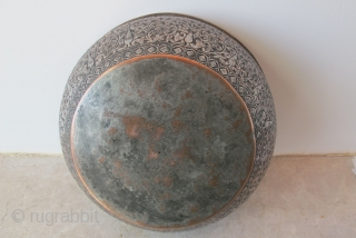 Dervish Divination Bowl.Possibly Halidiyya Dervish order. Khorassan. Mid-19th C. Tinned copper. H 6 cms D= 19 cms‏ 