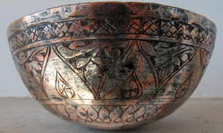 Water cup *Tas* Iran 1880's - probably Isfahan. Copper, 12 x 6 cms.