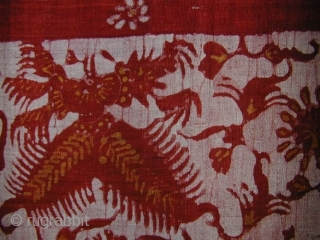 Javanese Ceremonial Sash. Sundanese people, West Java. Hand-spun cotton, simple batik using rice-paste applied with stick or finger, natural dyes. 120 x 53 cms. Mid-20th c. or earlier.