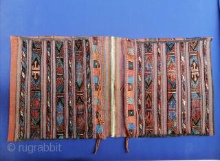 """Antique Varamin/Veramin complete saddlebags, ca. 1900 in excellent condition. 61 x 123 cm (2' x 4'1""""). Ex private coll. Beirut."""