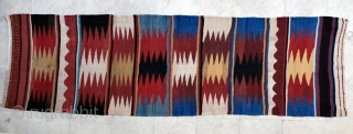 Azerbaijan (?) kilim, 1930s. 94 x 298 cm. Natural colors. Large scale dazzling, Quite attractive. One small stain.