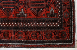 Baluch, ca. 1900-10, 110 x 190 cm. One of the nicest bearing this design. Many types of gazelles in the field. Excellent red background.Deep black-corrosion, otherwise general good condition.