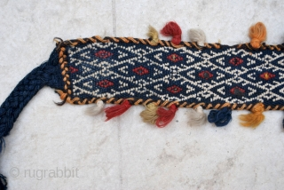 Qashqai camel neck band with an uncommon shisha derma patterning technique, 8 x 174 cm (excl. end braid)