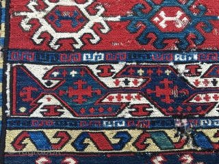 Charming Azeri sumack mafrash end panel pair. Cm 42x50 ca each. Imo late 19h c. Lovely deep green and a strong yellow. Pattern with ram horn medallions and birds with.....crosses! It's a  ...