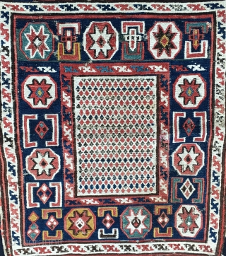 Azerbaijan. Baku 1001 nights + stars and diamonds. Shirwan, Khyzy village?, sumack bag face. Cm 35x43. Second half 19th century. A real beauty with all kinds of symbols. Not only small &  ...