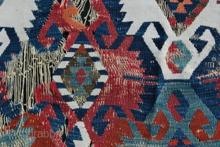 Central Anatolia kilim fragment, possibly Konya. Cm 90x90 ca. Mid or second half 19th century. Wool & cotton. See more pics on my fb page: https://www.facebook.com/media/set/?set=a.10153709821554258.1073742063.3…