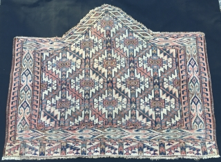 "7/seven sided Yomut asmalyk. Cm 80x100 ca or 31""x40"". Full 19th century. This great piece has been done by a very skilled weaver who knew how to handle offset knotting to get  ..."