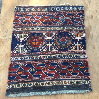 Shahsavan sumack mafrash end panel. Cm 48x56. End 19th century. Some great natural colors like blue and green. White is cotton. Love the pattern. Survived a moth battle. Sale price: € 280  ...