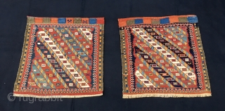 Shahsavan sumack twin khorjin bag faces. Cm 53/53 and 54/54. Age: 100 to 110 years imho. Great pattern. Lovely colors. As usual at this age orange might not be natural. Difficult to  ...
