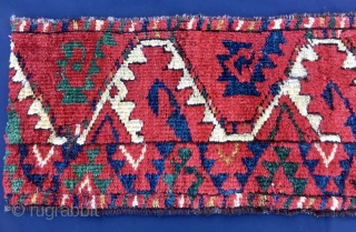 Turkmen Beshir border fragment. C, 31x84. Third quarter 19th century. Great deep, natural, saturated colors. Madder red, green, yellow, petrol blue.... Lovely pattern, great graphics.