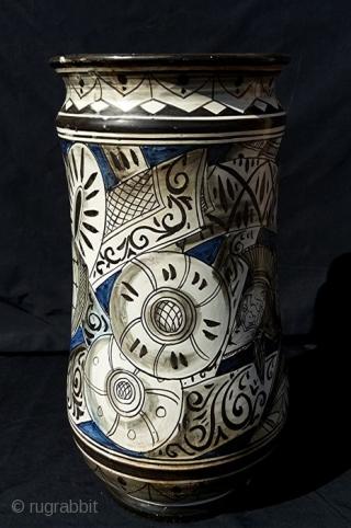 Pair of antique and big Ceramic Albarelli from Civita Castellana, one of of the most famous ceramic maker places in Italy. Fratelli Crestoni Di Girolamo. Civita Castellana. Viterbo. Lazio. Central Italy. Dimensions: H  ...