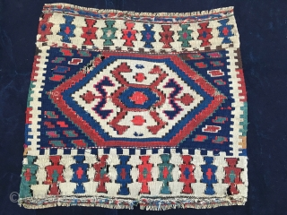 Colorful Shahsavan flat weave bag face. Cm 48x52. End 19th century or earlier. Lovely square with awesome colors. Mount it and enjoy it.