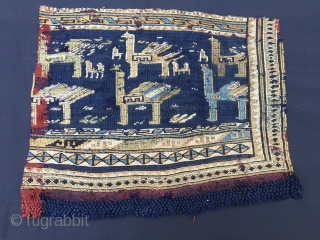 Two Azeri verneh horse cover fragments. Cm 36x43 and 39x44. Datable to third quarter of 19th century, but, could be even older. Warp is indigo blue and madder red. Pattern with horses  ...