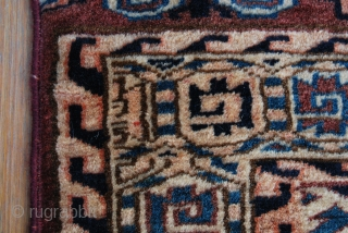 Yomut small rug. Cm 105x180 ca. Early 20th c. Great condition, full pile. Dyrnak gul pattern, Yomut eagles in the elems. A date? or an inscription? in the in the top left  ...