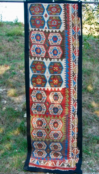 Karapinar kilim strip mounted fragment. Second half 19th century. Great colors. Professionally mounted.