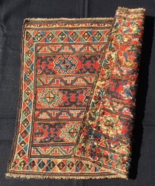 Colorful Karabakh, (yes Karabakh, not Shahsavan as I thought) sumack bag face. Cm 53x57. Databile 1880sh. Classic, elegant, rich design. Lots of deep, saturated natural colors. Will have to study it a  ...