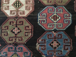 Black Shahsavan sumack panel. Cm 36x47. Imho 1860/70 probably. Rare? Very rare. Powerful, beautiful, wonderful. But, well, it's up to you. Apple to carlokocman@gmail.com.