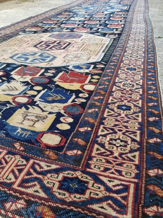 """Amazing work of art. Kufic border """"painters"""" Shirwan rug. Cm 493x120. Rare, beautiful, unusual, antique, precious. Fantastic, intriguing pattern and wonderful colors. Needs a good wash and some minor caring. Palace runner.  ..."""