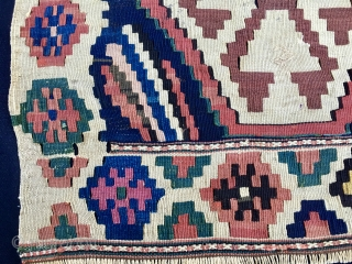 Caucasian, but could well be Shahsavan, kilim mafrash side panel. Cm 56x100. End 19th century at least. Great rainbowish pattern, amazing colors. In good condition. Highly colorful & enjoyable.