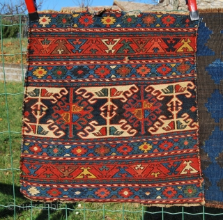 4 Jewels. Four lovely, antique, natural dye sumack squares (1, 3 & 4)) from Shahsavan/Karabakh (2?) tribal groups. Choose one or get all four. More infos and pics avlbl. Please see also  ...