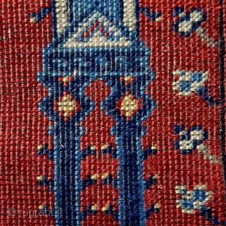 Antique Kula prayer rug, 172x92cm, goat hair warps, all natural colours.