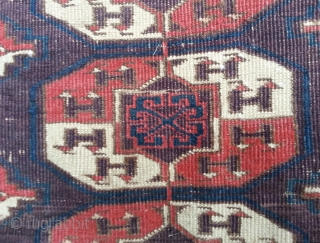 Kizil Ayak Main Carpet. Very worn and dirty, good patch in middle! Lovely purple.