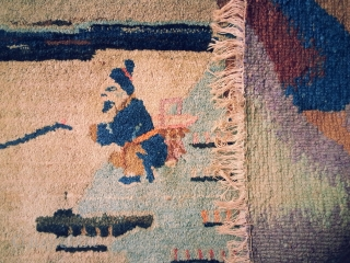"""Intriguing and likeable Tibetan or Chinese rug. 4'3"""" x 6'10"""". Lovely soft wool on a cotton foundation. Small amounts of synthetic dyes. Has been hung on wall so in superb condition. Early  ..."""