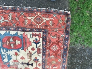 Please see my other new listings Great old Serapi with excellent color and design in distressed condition No holes or dryness very very dirty with wear more photos on request Size is  ...