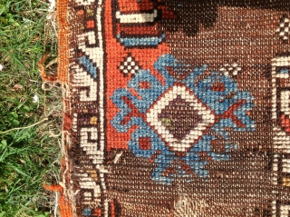 Very Old Konya in distressed condition but with great graphics  52 inches by 62 inches