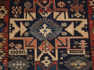 Antique Caucasian Shirvan rug with 'Lesghi star' design. www.knightsantiques.co.uk 