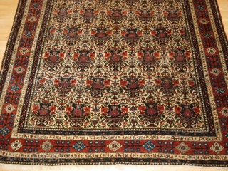Antique Abedeh rug with the classic Zili Sultan 'vase and peacock' design, the rug has excellent soft colours on an ivory ground. www.knightsantiques.co.uk 