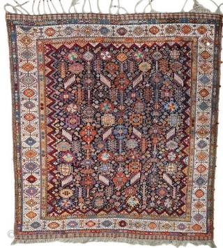 A very fine and exceptionally beautiful antique Shekarlu tribal carpet. Typical allover field design of animal figures, serrated leaves, flowers, rosettes and other filler elements woven in vivid natural dyes on rich  ...