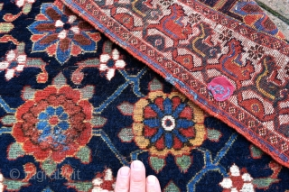 A very rare South West Persian Khamseh carpet fragment, super fine weave with a perfect rendition of the Mina Khani design we normally see on Kurdish rugs. The border is unique in  ...