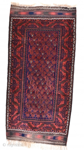 An antique Baluch rug, finely woven with good dyes. Even low pile, original kilim ends. Late 19th century. Not too expensive.