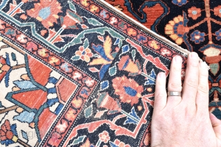 A very fine little Sarouk Ferahan rug with good age in excellent original condition. 204x104cm Circa 1900.