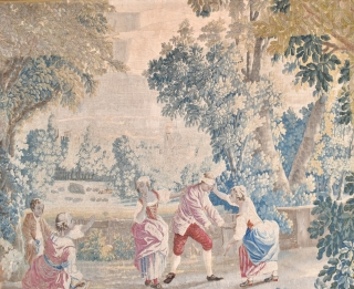 A good antique French tapestry fragment. Finely made with figures playing blind mans bluff. Good all-over condition, professionally cleaned, conserved and backed onto linin. Super decorative example of useful size with minimal  ...
