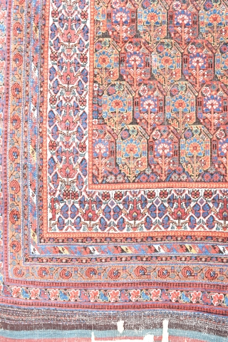 Antique Neriz Afshar rug, slightly corroded field, conserved kilim ends. Late 19th century