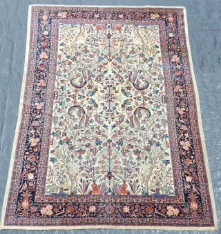 An antique Dabir type Kashan carpet. Even low pile allover, clean, no brittle areas or repairs. First quarter 20th century. 303x202cm