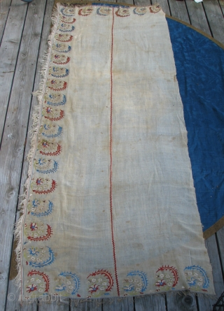 "17th Century Ottoman Embroidery  --  Silk on Linen  --  35""  x  97 1/2""  --  These fine, thin  sickle shaped leaves are found on  ..."