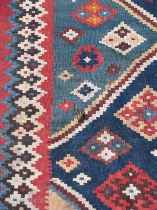 """19th Century Qashgai Kilim --  8'10'  X  5'5""""  --  All Natural colors with a nice variation of color  --  In excellent condition except for 2  ..."""