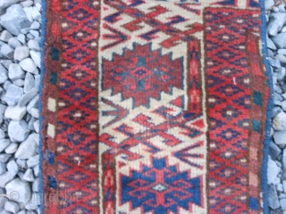 "Teke Turkoman fragment, 19th century, 10"" x 18"" (.25 x .46), rug was washed, great colors, good condition, plus shipping."